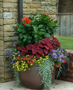 Stunning Container Gardening Ideas Beautiful blossoms are a sure sign of Spring, and soon enough we will all be able to enjoy brightly adorned gardens. If you love container gardening, then this list of ideas just may inspire you w…Beautiful blossoms are Large Flower Pots, Pot Jardin, Outdoor Flowers, Outdoor Plants, Outdoor Flower Planters, Potted Plants Patio, Fence Plants, Plant Pots, House Plants