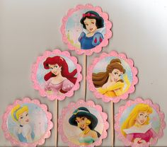 Disney Princess Cupcake Toppers Food Picks Set of 12 Glitter pink birthday toppers.  via Etsy.