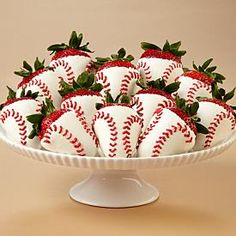 Adorable - baseball themed dipped strawberries! I bet you could use yellow food coloring to make softballs too.