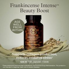 Age well from within with frankincense and vitamin C to support normal collagen formation†. Taken alongside Frankincense Intense™ Lift Serum, these nutritional supplements are easy additions to your everyday age well routine.