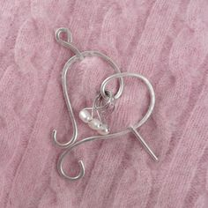 Sterling Silver Heart Marker Buddy Shawl Pin - just one of many that she has available