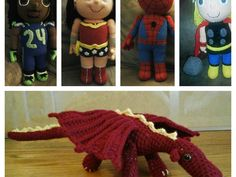 I crochet super hero, football player dolls, dragons and many other things. I also make jewelry. And sell at events when I can.