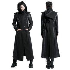 Black Alternative Gothic Vampire Long Hoodies Jackets Windbreaker Men SKU-11401206