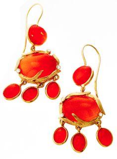 Love Tangerine! @Laurie Kaiser Lemongrass Chandelier Earrings in carnelian. www.lauriekaiser.com
