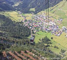 Blick auf Lech und die Gondel der Rüfikopfbahn #lech #arlberg #wanderurlaub #sommerurlaub