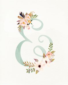 Esperluette Florale – Imprimable GRATUITEMENT www. Diy Tattoo, Tattoo Fonts Alphabet, Ampersand Tattoo, Watercolor Mermaid, Tattoo Watercolor, Mermaid Illustration, Print Fonts, Mermaid Tattoos, Floral Letters