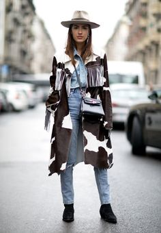 Patricia Manfield masters the urban-cowgirl look in Milan