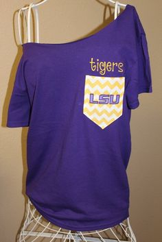 LSU+Tigers+Pocket+OfftheShoulder+Shirt+Chevron+by+SewSnazzybyBrook,+$32.00