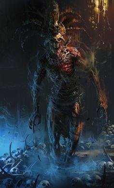 undead cleric noble [Death God by Ignacio Bazán Lazcano] Dark Fantasy Art, Fantasy Artwork, Fantasy Kunst, Dark Art, Arte Horror, Horror Art, Monster Art, Fantasy Creatures, Mythical Creatures
