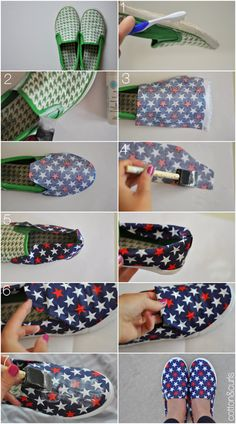 update old shoes with fun fabric--cute shoes on a college budget #17college
