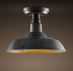 Vintage Barn Flushmount Weathered Zinc from Restoration Hardware. This would be great in my laundry room and hallway.