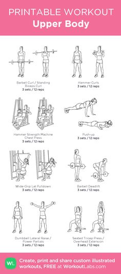 Upper Body:my visual workout created at WorkoutLabs.com • Click through to customize and download as a FREE PDF! #customworkout