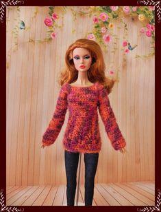 Handmade sweater for Barbie, Poppy Parker, FR, FR2 dolls