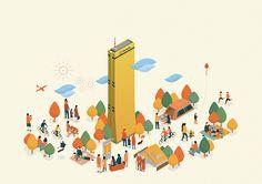 Hanhwa 63 City on Behance City Illustration, Simple Illustration, Digital Illustration, Forest Color, Isometric Design, Hand Sketch, Romantic Dates, Graphic Design Typography, Simple Art