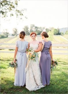 Lavender bridesmaids dresses - this is a cool pose. And hey, redheaded bride!