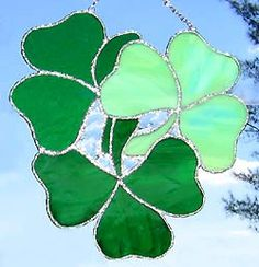 Stained Glass Suncatcher in Green Irish by StainedGlassDelight