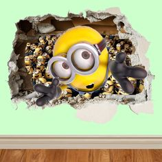 minions wall smash despicable me wall sticker kids childrens bedroom vinyl art in Home, Furniture & DIY, Home Decor, Wall Decals & Stickers Bathroom Decor Pictures, Diy Bathroom Decor, Bathroom Kids, Bedroom Decor, Bedroom Ideas, Despicable Me Bedroom, Minion Bedroom, Lego, Removable Wall Stickers