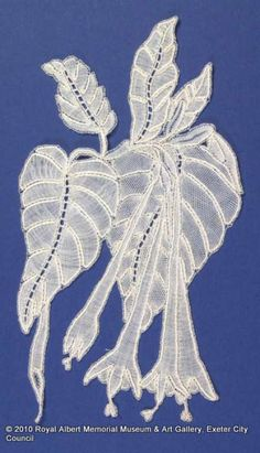 Honiton (East Devon) lace sprig - Lace designed by Louisa Tucker, daughter of John Tucker of Branscombe whose family firm supplied lace to the royal family. Louisa's designs were based on native and garden plants. This lace sprig is skillfully worked in wholestitch and halfstitch with ribbed and rolled work to give a three-dimensional effect. Leadworks are used to decorate the central veins of the leaves. John Tucker, Memorial Museum, Bobbin Lace, Royal Albert, Lace Design, Vintage Patterns, Three Dimensional, Machine Embroidery, Art Gallery