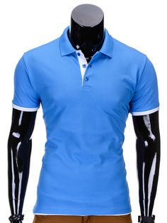 POLO S758 - BŁĘKITNA - Sklep Ombre Polo Shirt, Mens Tops, Shirts, Fashion, Moda, Polo, Polo Shirts, Shirt, Fasion