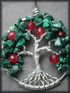 Apple Tree - Tree of Life Pendant with Malachite and Ruby Gemstones in Silver $50
