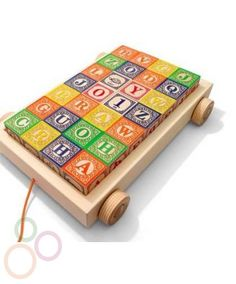 Alphabet blocks in wagon