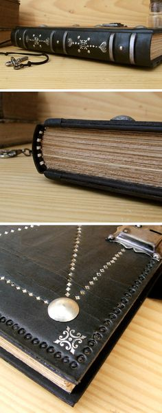 Black Leather Journal / Blank Book with Lock and Key by TeoStudio, $190.00
