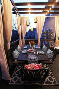 Deck Decorating Ideas: A Pergola, Lights and DIY Cement Planters - Home… Outdoor Curtains, Outdoor Rooms, Outdoor Dining, Outdoor Decor, Pergola Curtains, Mosquito Curtains, Outdoor Pergola, White Pergola, Modern Pergola