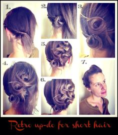A beautifully unique and retro wedding up-do for shorter hair DIY Short Hair Updo, Girl Short Hair, Short Hair Styles, Retro Hairstyles, Girl Hairstyles, Wedding Hairstyles, Retro Wedding Hair, Retro Weddings, Cowboy Weddings