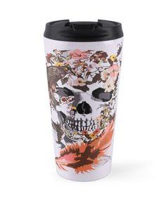 Birds, butterfly and Sugar Skull Travel Mugs #mug #travelmug #Birds #butterfly #Sugar #skull #skeleton #dayofthedead #diasdemuertos #jackskellingtons #halloween #scary #thenightbeforechristmas #animal #bone #tattoo #hippie #hipster #aztec #maya #indian #feather #bird #mexico #mexican #hauntedmansion #ghost #monster