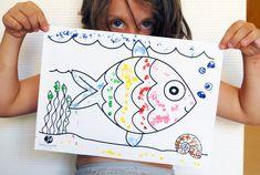 "Pointillisme au coton-tige ""La mer"" | Jouonsensemble.fr"