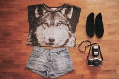wolf shirt & black suede oxfords