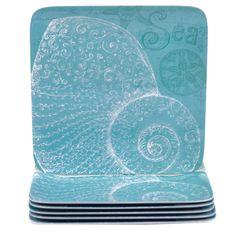 Certified International Aqua Treasures 10.5-inch Melamine Dinner Plates (Set of 6)
