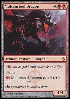 Magic: the Gathering - Moltensteel Dragon - New Phyrexia Magic: the Gathering http://www.amazon.com/dp/B004XD1EHI/ref=cm_sw_r_pi_dp_vHRRvb0GPEX9A