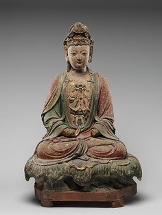 "virtual-artifacts: ""Figure seated on lotiform base Period:early Ming dynasty Culture:China Medium:Stucco Dimensions:a. 22 ¾ in. 15 ¾ in. 10 ½ in. cm) b. 8 ¼ in. 19 in. Ancient China, Ancient Art, Statue Tattoo, Little Buddha, Buddhist Art, Buddha Buddhism, China Art, Guanyin, Sacred Art"