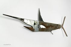 Wooden Fish - Marlyn wall sculpture made out of recycled materials by Maurizio Sergiusti - ScoobaFish on Behance