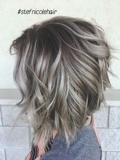 Silver hair balayage smudge root