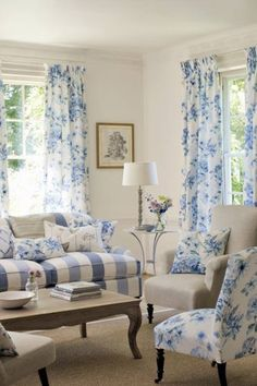 Blue and white cottage living room. Cottage Living Rooms, Home Living Room, Living Room Designs, Living Room Decor, Living Spaces, Decor Room, Living Area, Wall Decor, Blue Rooms
