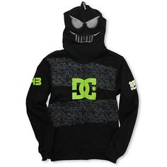 """The boys Ken Block full-face zip hoodie from DC Shoes, featuring DC star logos, Ken Block """"43"""" logos, and a full-face zip-up with a spooky face with mesh eyes and mouth."""