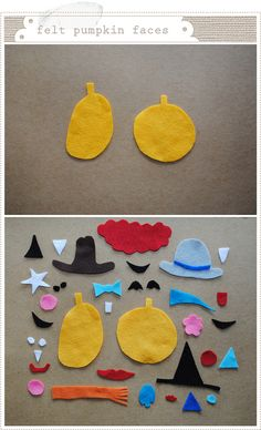 to make. felt pumpkin faces.. love this idea for the kids to create. possibilities are endless.