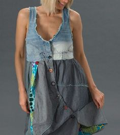 Desigual circolor dress as an inspiration for reusing old jeans (diy projec Recycled Fashion, Recycled Denim, Diy Clothing, Sewing Clothes, Denim Fashion, Boho Fashion, Mode Jeans, Men's Jeans, Diy Kleidung