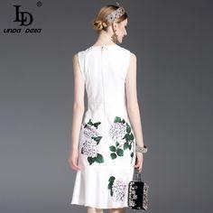 Designer Runway Summer Dress Womens elegant Mermaid Sleeveless Whiter Floral Printed Appliques Casual Dress Fashion Capsule, Fashion Outfits, Womens Fashion, Fashion Group, Fast Fashion, Trendy Fashion, Style Fashion, Pretty Outfits, Beautiful Outfits