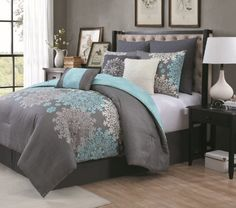 Geneva Home Fashion 9 Piece Amber Comforter Set, King, Aqua