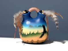 Vintage Native American Indian Hand Painted Signed Pottery Jug Adorned with Braided Leather & Feathers - Wedding Vase -  $39.00 USD