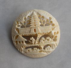 For similar items, click through to The Family Jewels Online Shop: FamilyJewelsNYC.etsy.com #vintage #White #Round #Ivory #Carved #Scenic #Brooch #Pin