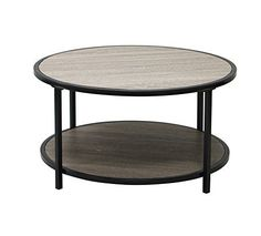 Weathered Grey Oak Finish Black Metal 2-tier Modern Round Coffee Table