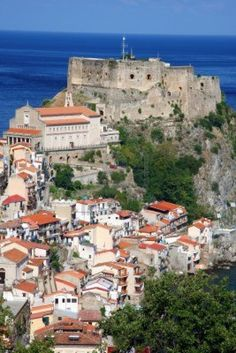 Picture of Scilla, Castle on the rock in Calabria, Italy stock photo, images and stock photography. Medieval Castles In Europe, Amazing Places, Beautiful Places, Italy Street, Calabria Italy, Regions Of Italy, Chateaus, Dream Houses, Palaces