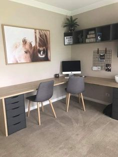 Home office in. Inner of basement family room Home office in. Inner of basement family room Mesa Home Office, Home Office Space, Home Office Desks, Diy Office Desk, Ikea Office, Office Desk Furniture, Office With 2 Desks, Basement Home Office, Modern Office Desk