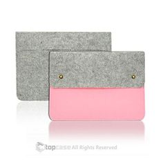 TopCase Felt Environmental Light Pink Sleeve Bag / Carrying Case with Button Closure for Apple Macbook White/Pro/Air 13' and Ultrabook with TopCase Mouse Pad