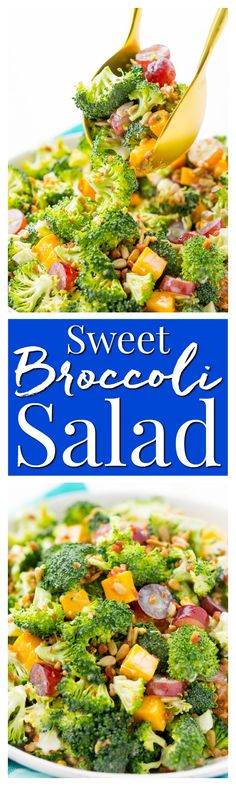 This Sweet Broccoli Salad is an easy, crunchy, and lightly sweetened side salad that's perfect for BBQs and more! Made with fresh broccoli, grapes, cheese, sunflower seeds, bacon, and a delightful dressing! Bring it to all your summer get-togethers! via @sugarandsoulco Broccoli Pasta Salads, Chicken Pasta Salad Recipes, Best Salad Recipes, Fresh Broccoli, Healthy Recipes, Easy Recipes, Broccoli Bake, Retro Recipes, Steak Recipes
