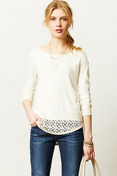 belmar pullover / anthropologie - okay, i may not be able to buy this in my size from anthropologie, but I sure can add lace to the bottom of a sweater!!